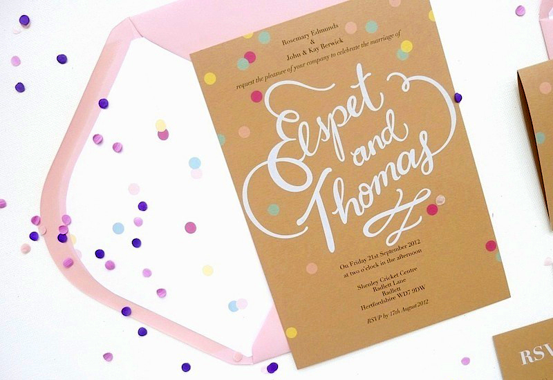 confetti in wedding invitations